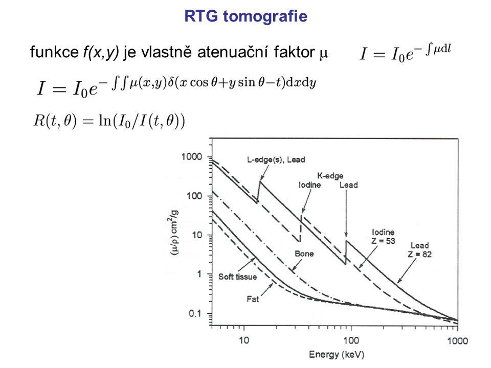 RTG tomografie funkce f(x,y) je vlastně atenuační faktor 