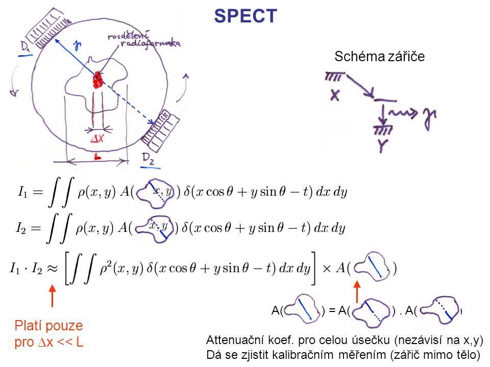 SPECT Schéma zářiče Platí pouze pro  x << L A( ) = A( ). A( ) Attenuační koef. pro celou úsečku (nezávisí na x,y) Dá se zjistit kalibračním měřením (