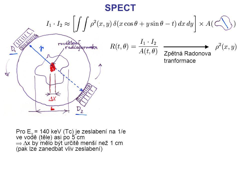 SPECT Pro E  = 140 keV (Tc) je zeslabení na 1/e ve vodě (těle) asi po 5 cm    x by mělo být určitě menší než 1 cm (pak lze zanedbat vliv zeslabení