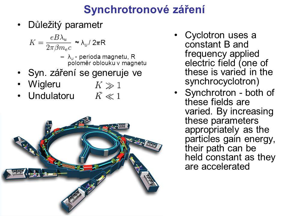 Synchrotronové záření Důležitý parametr  λ u / 2  R –λ u - perioda magnetu, R poloměr oblouku v magnetu Syn. záření se generuje ve Wigleru Undulator