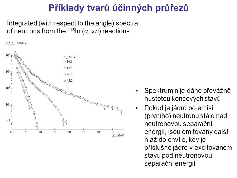Příklady tvarů účinných průřezů Integrated (with respect to the angle) spectra of neutrons from the 115 In (α, xn) reactions Spektrum n je dáno převáž