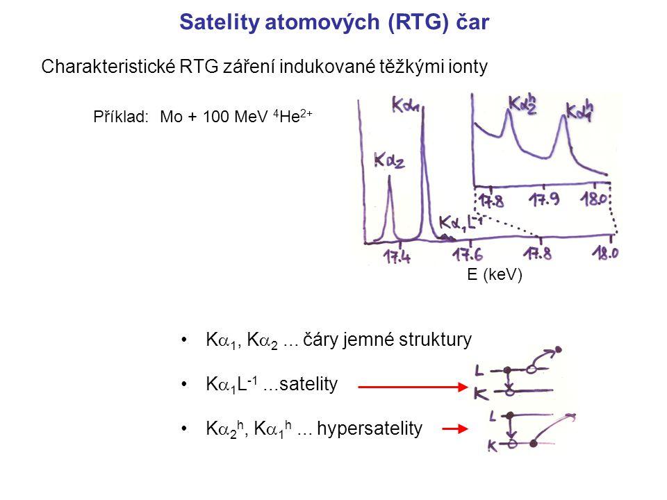 Satelity atomových (RTG) čar Charakteristické RTG záření indukované těžkými ionty K  1, K  2... čáry jemné struktury K  1 L -1...satelity K  2 h,