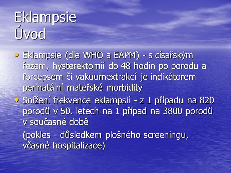 Eklampsie Úvod Eklampsie (dle WHO a EAPM) - s císařským řezem, hysterektomií do 48 hodin po porodu a forcepsem či vakuumextrakcí je indikátorem perina