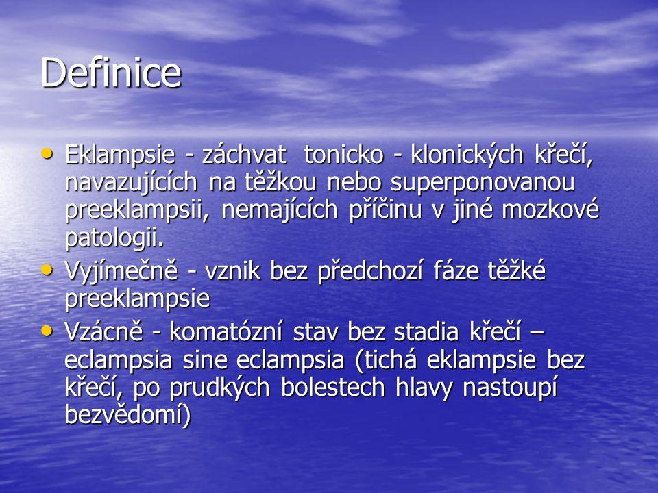 Definice Eklampsie - záchvat tonicko - klonických křečí, navazujících na těžkou nebo superponovanou preeklampsii, nemajících příčinu v jiné mozkové pa