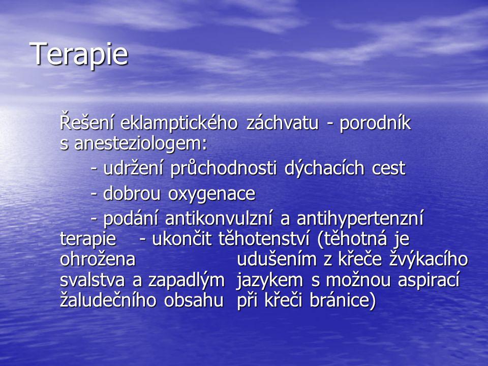 Terapie Řešení eklamptického záchvatu - porodník s anesteziologem: Řešení eklamptického záchvatu - porodník s anesteziologem: - udržení průchodnosti d