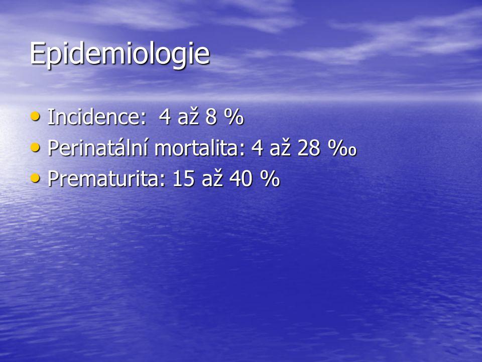 Epidemiologie Incidence: 4 až 8 % Incidence: 4 až 8 % Perinatální mortalita: 4 až 28 ‰ Perinatální mortalita: 4 až 28 ‰ Prematurita: 15 až 40 % Premat
