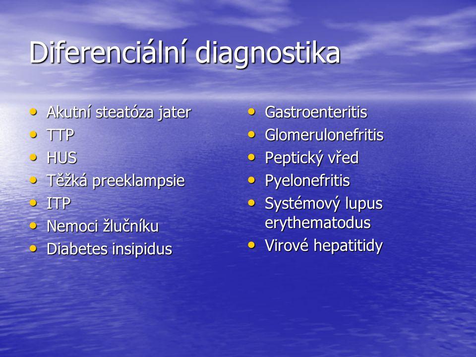 Diferenciální diagnostika Akutní steatóza jater Akutní steatóza jater TTP TTP HUS HUS Těžká preeklampsie Těžká preeklampsie ITP ITP Nemoci žlučníku Ne