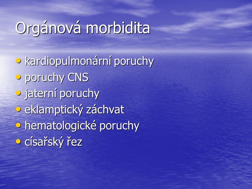 Orgánová morbidita kardiopulmonární poruchy kardiopulmonární poruchy poruchy CNS poruchy CNS jaterní poruchy jaterní poruchy eklamptický záchvat eklam