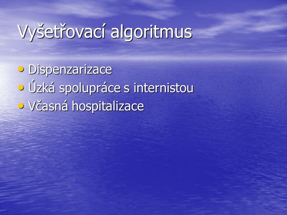 Vyšetřovací algoritmus Dispenzarizace Dispenzarizace Úzká spolupráce s internistou Úzká spolupráce s internistou Včasná hospitalizace Včasná hospitali