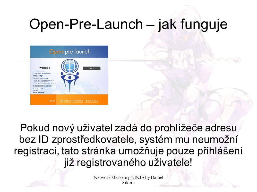Network Marketing NINJA by Daniel Sikora Open-Pre-Launch – jak funguje Registrace nového uživatele je možná pouze prostřednictvím adresy obsahující konkrétní ID zprostředkovatele.