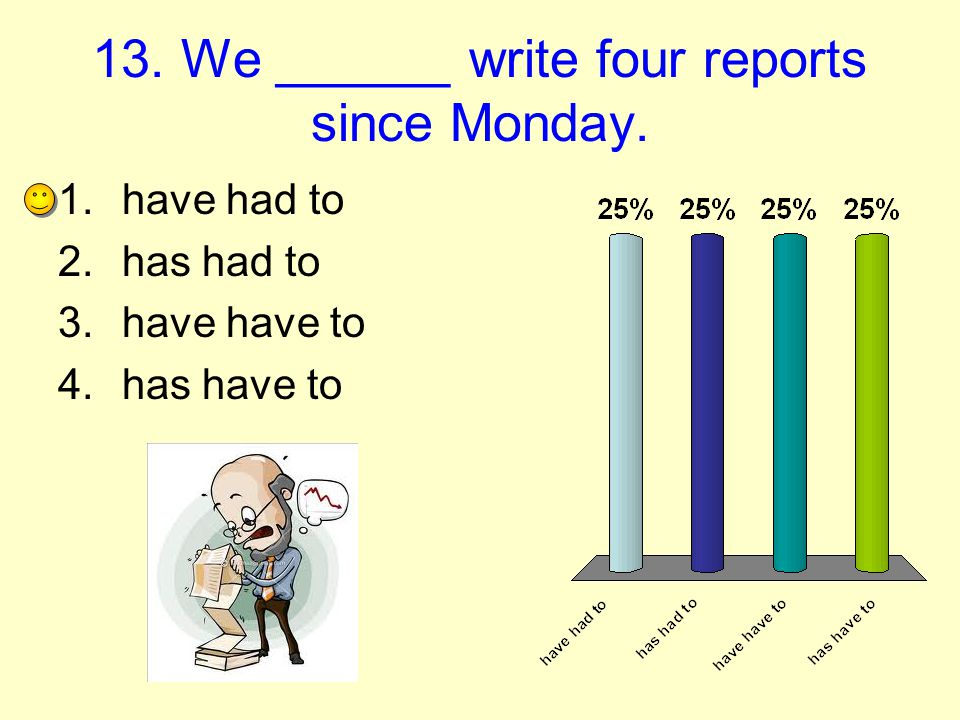 13. We ______ write four reports since Monday.