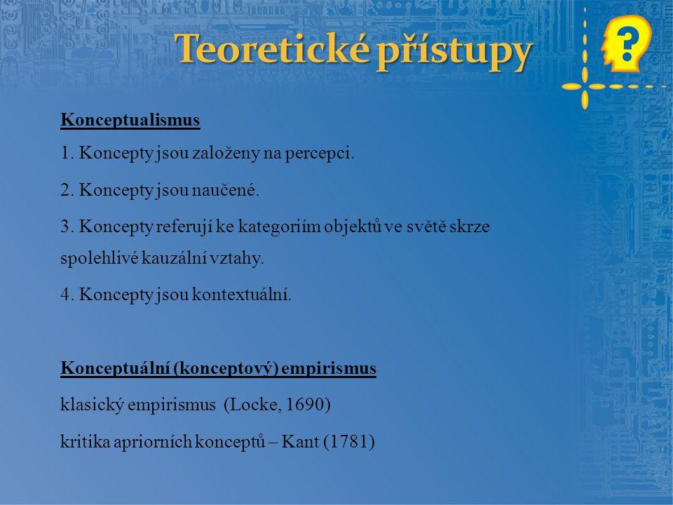 Konceptualismus 1. Koncepty jsou založeny na percepci. 2. Koncepty jsou naučené. 3. Koncepty referují ke kategoriím objektů ve světě skrze spolehlivé