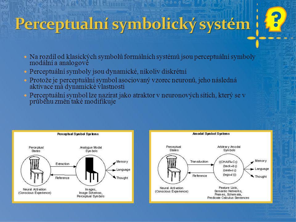Na rozdíl od klasických symbolů formálních systémů jsou perceptuální symboly modální a analogové Perceptuální symboly jsou dynamické, nikoliv diskrétn