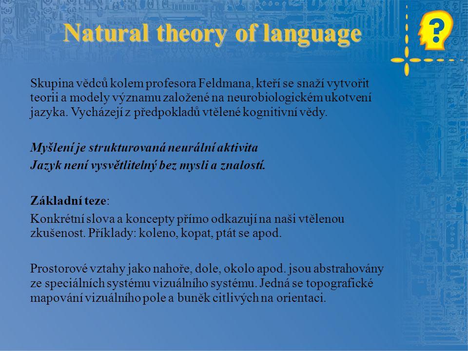 Natural theory of language Skupina vědců kolem profesora Feldmana, kteří se snaží vytvořit teorii a modely významu založené na neurobiologickém ukotve