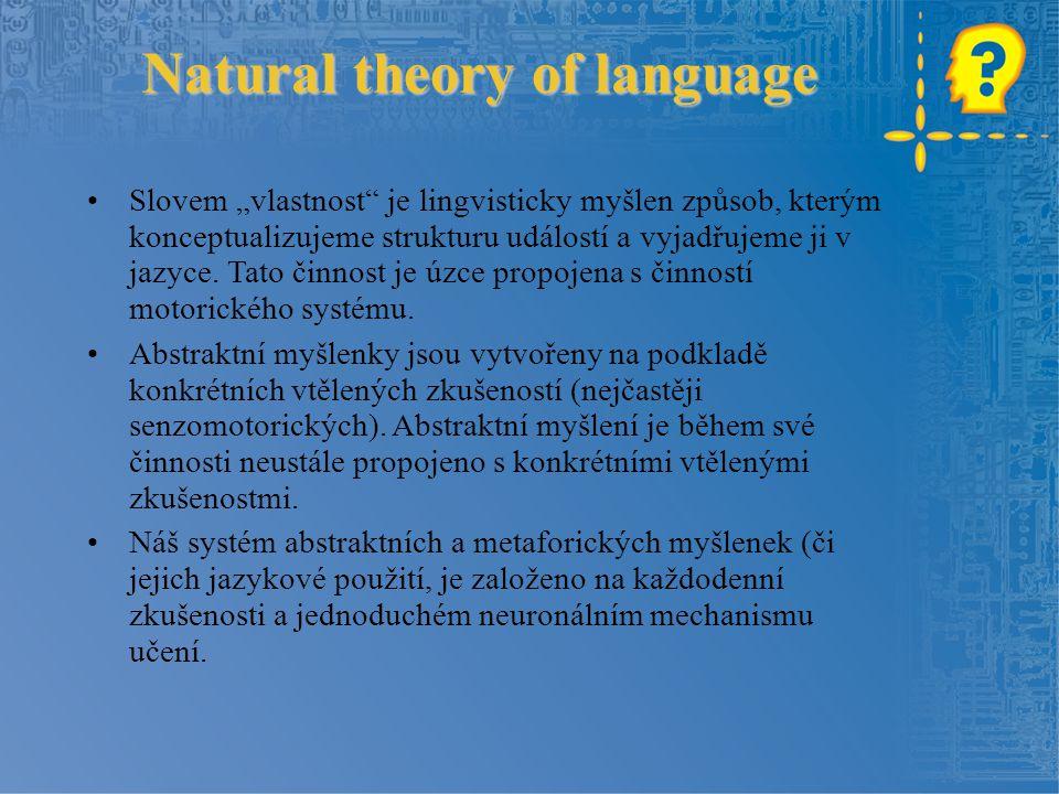 """Natural theory of language Slovem """"vlastnost"""" je lingvisticky myšlen způsob, kterým konceptualizujeme strukturu událostí a vyjadřujeme ji v jazyce. Ta"""