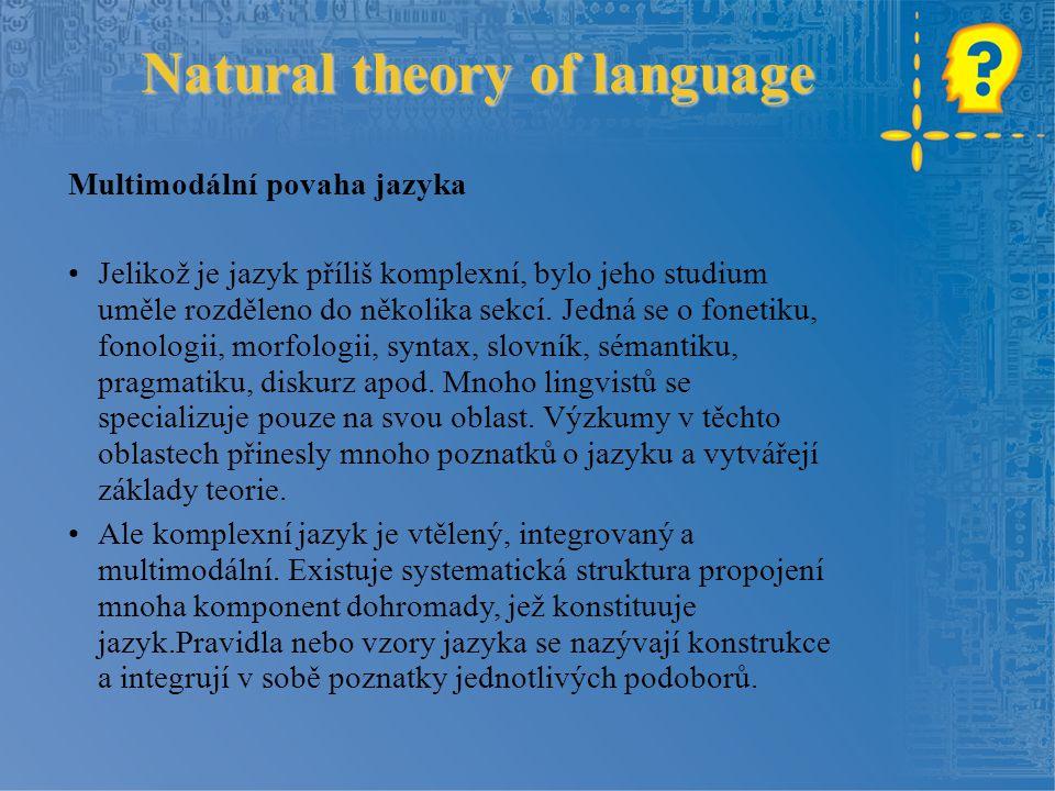 Natural theory of language Multimodální povaha jazyka Jelikož je jazyk příliš komplexní, bylo jeho studium uměle rozděleno do několika sekcí. Jedná se
