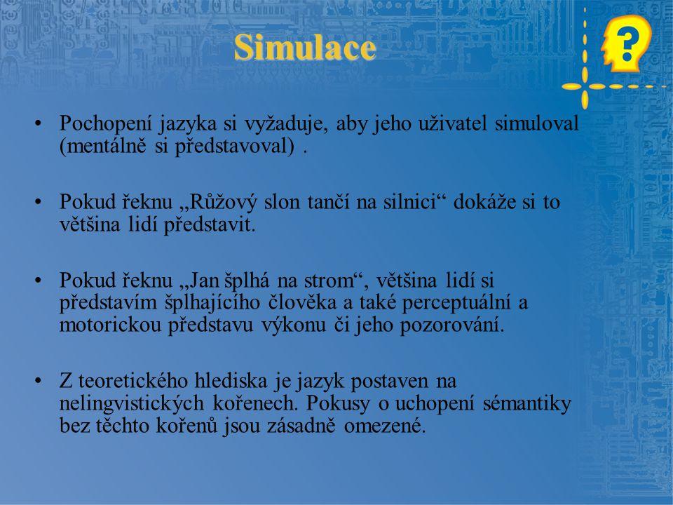 """Simulace Pochopení jazyka si vyžaduje, aby jeho uživatel simuloval (mentálně si představoval). Pokud řeknu """"Růžový slon tančí na silnici"""" dokáže si to"""