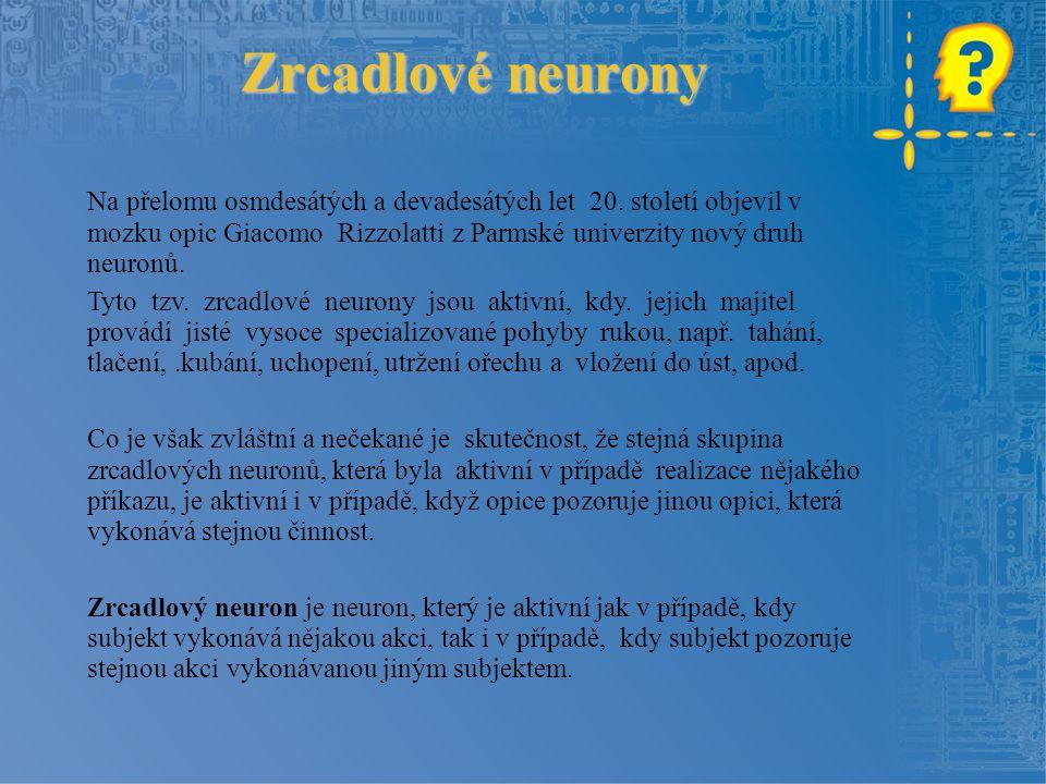 Zrcadlové neurony Na přelomu osmdesátých a devadesátých let 20. století objevil v mozku opic Giacomo Rizzolatti z Parmské univerzity nový druh neuronů