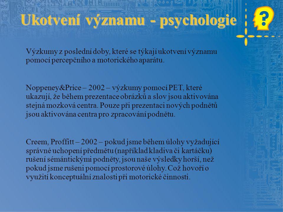 Výzkumy z poslední doby, které se týkají ukotvení významu pomocí percepčního a motorického aparátu. Noppeney&Price – 2002 – výzkumy pomocí PET, které