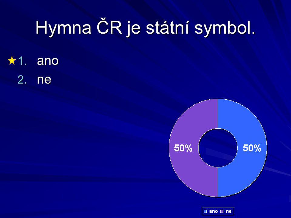 Hymna ČR je státní symbol. 1. ano 2. ne