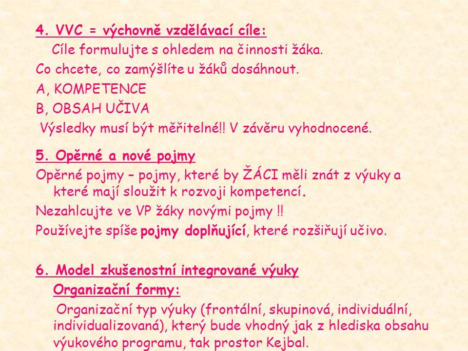 4. VVC = výchovně vzdělávací cíle: Cíle formulujte s ohledem na činnosti žáka. Co chcete, co zamýšlíte u žáků dosáhnout. A, KOMPETENCE B, OBSAH UČIVA