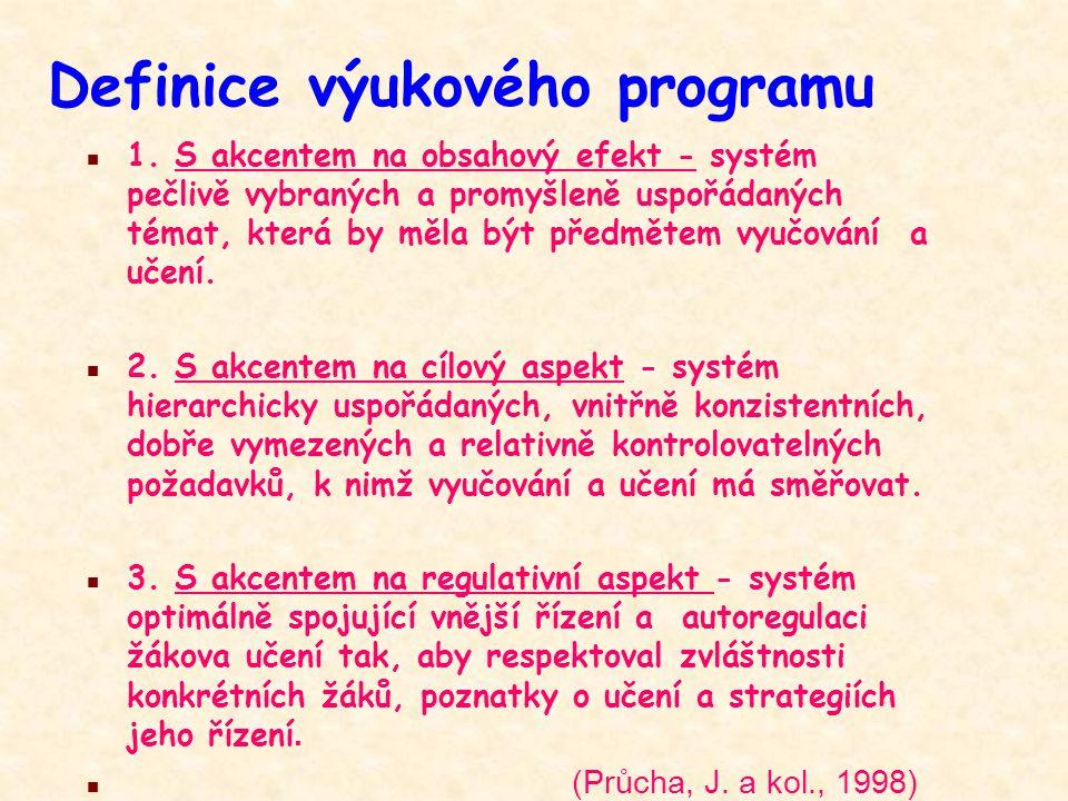 Definice výukového programu n 1. S akcentem na obsahový efekt - systém pečlivě vybraných a promyšleně uspořádaných témat, která by měla být předmětem