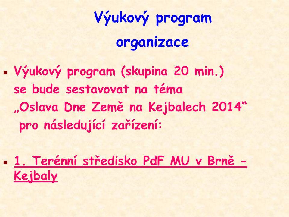 """Výukový program organizace n Výukový program (skupina 20 min.) se bude sestavovat na téma """"Oslava Dne Země na Kejbalech 2014"""" pro následující zařízení"""