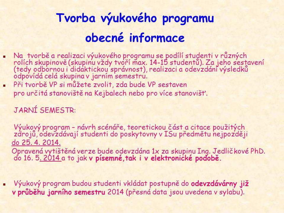 Tvorba výukového programu obecné informace n Na tvorbě a realizaci výukového programu se podílí studenti v různých rolích skupinově (skupinu vždy tvoř