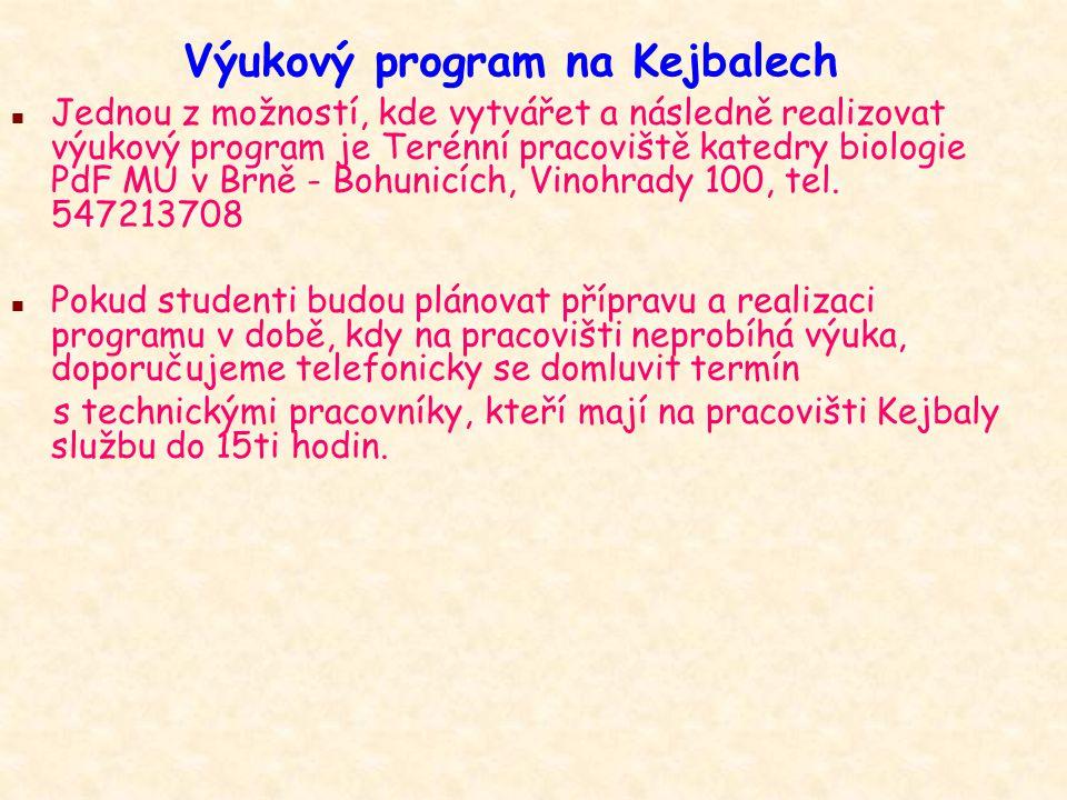 Výukový program na Kejbalech n Pokud sestavujete VP na Kejbaly můžete si pro následnou realizaci zajistit třídu (skupinu žáků) sami.