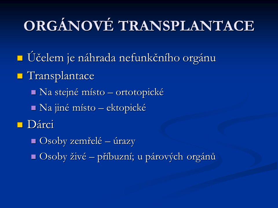 ORGÁNOVÉ TRANSPLANTACE Účelem je náhrada nefunkčního orgánu Účelem je náhrada nefunkčního orgánu Transplantace Transplantace Na stejné místo – ortotop