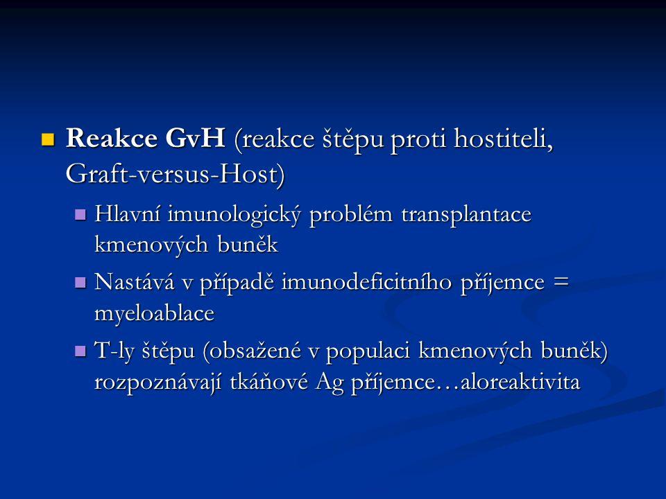 Reakce GvH (reakce štěpu proti hostiteli, Graft-versus-Host) Reakce GvH (reakce štěpu proti hostiteli, Graft-versus-Host) Hlavní imunologický problém