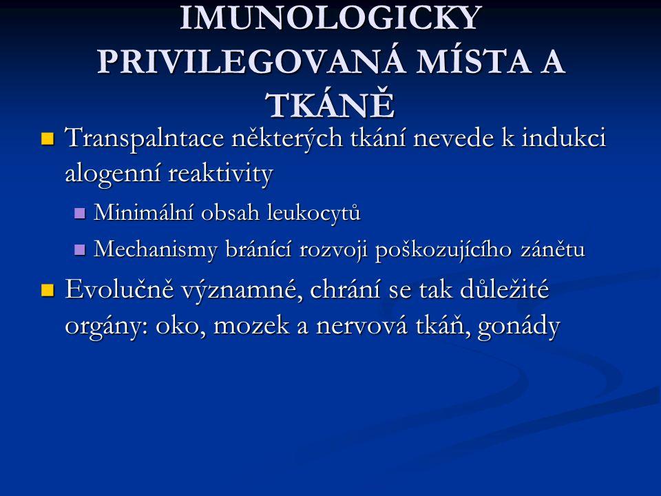 IMUNOLOGICKY PRIVILEGOVANÁ MÍSTA A TKÁNĚ Transpalntace některých tkání nevede k indukci alogenní reaktivity Transpalntace některých tkání nevede k ind