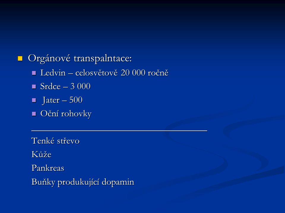 Orgánové transpalntace: Orgánové transpalntace: Ledvin – celosvětově 20 000 ročně Ledvin – celosvětově 20 000 ročně Srdce – 3 000 Srdce – 3 000 Jater