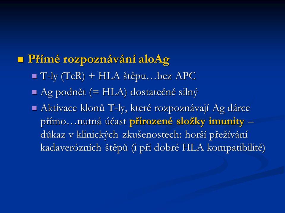 Přímé rozpoznávání aloAg Přímé rozpoznávání aloAg T-ly (TcR) + HLA štěpu…bez APC T-ly (TcR) + HLA štěpu…bez APC Ag podnět (= HLA) dostatečně silný Ag