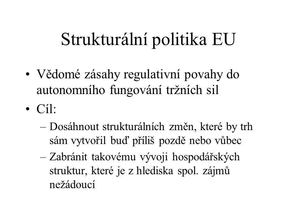 Strukturální politika EU Vědomé zásahy regulativní povahy do autonomního fungování tržních sil Cíl: –Dosáhnout strukturálních změn, které by trh sám vytvořil buď příliš pozdě nebo vůbec –Zabránit takovému vývoji hospodářských struktur, které je z hlediska spol.