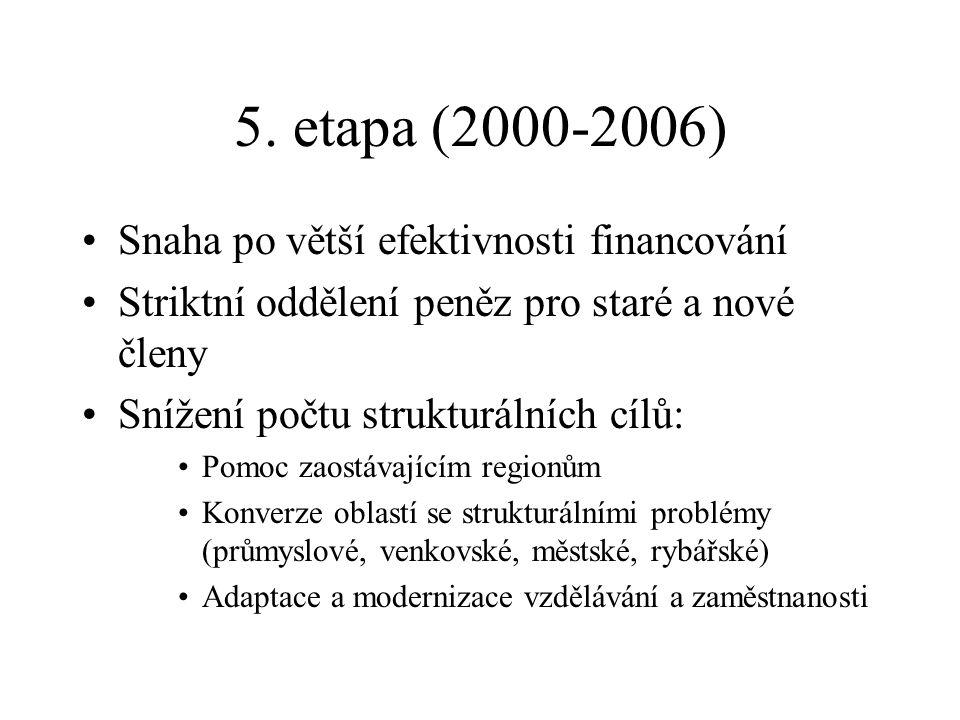 5. etapa (2000-2006) Snaha po větší efektivnosti financování Striktní oddělení peněz pro staré a nové členy Snížení počtu strukturálních cílů: Pomoc z
