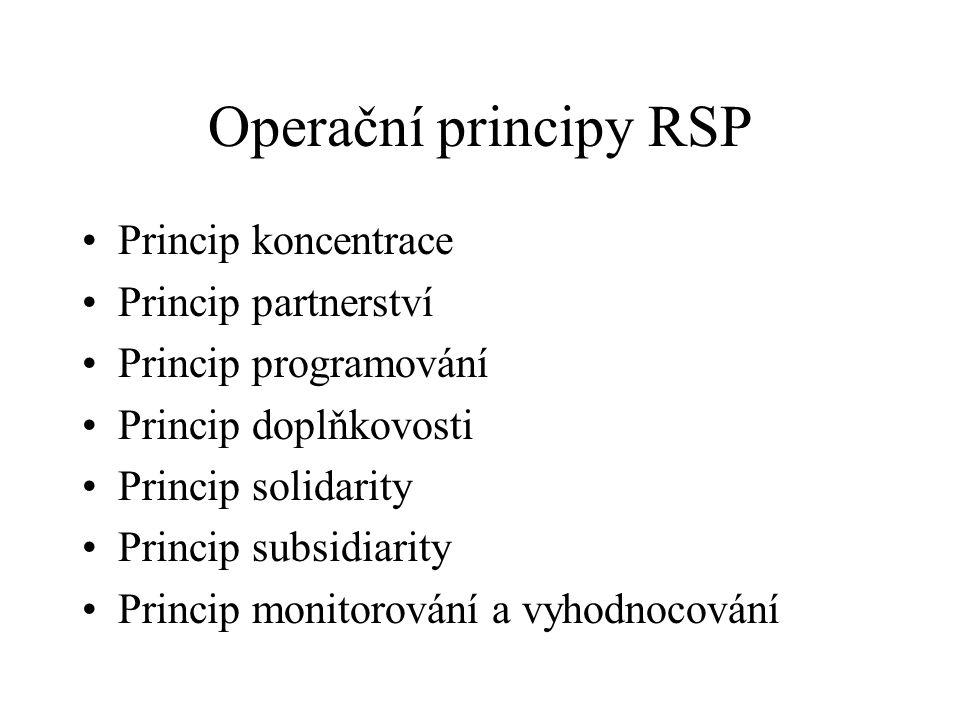 Operační principy RSP Princip koncentrace Princip partnerství Princip programování Princip doplňkovosti Princip solidarity Princip subsidiarity Princip monitorování a vyhodnocování