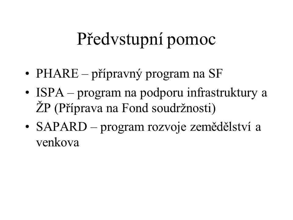 Předvstupní pomoc PHARE – přípravný program na SF ISPA – program na podporu infrastruktury a ŽP (Příprava na Fond soudržnosti) SAPARD – program rozvoje zemědělství a venkova