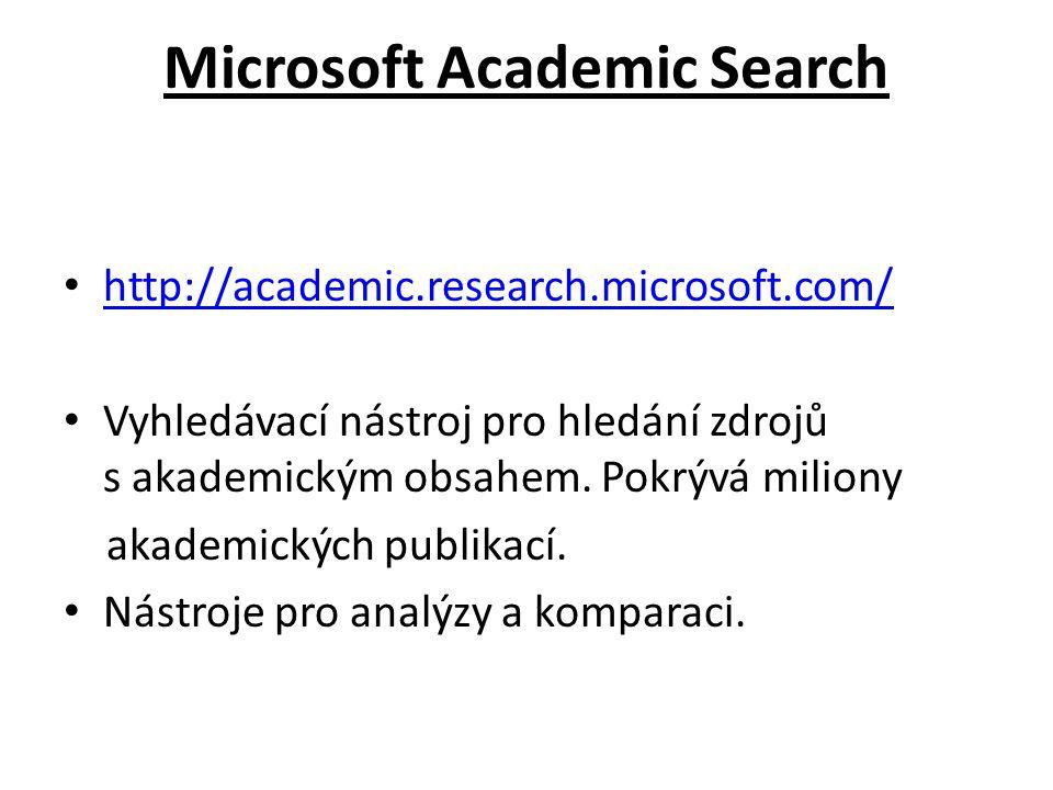 Microsoft Academic Search http://academic.research.microsoft.com/ Vyhledávací nástroj pro hledání zdrojů s akademickým obsahem. Pokrývá miliony akadem