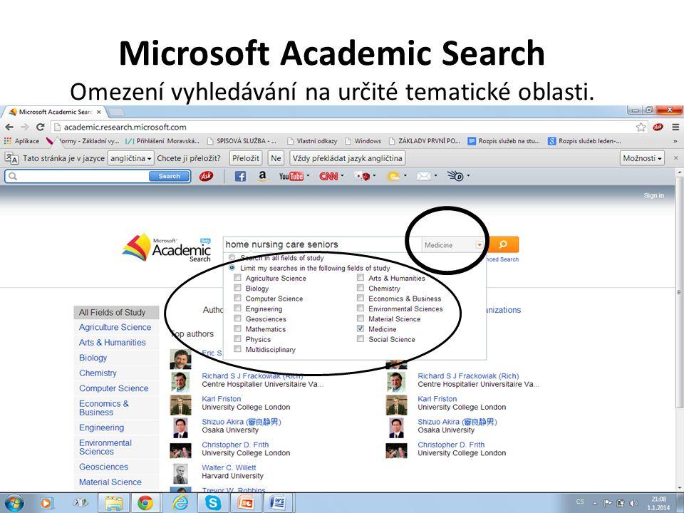 Microsoft Academic Search Omezení vyhledávání na určité tematické oblasti.