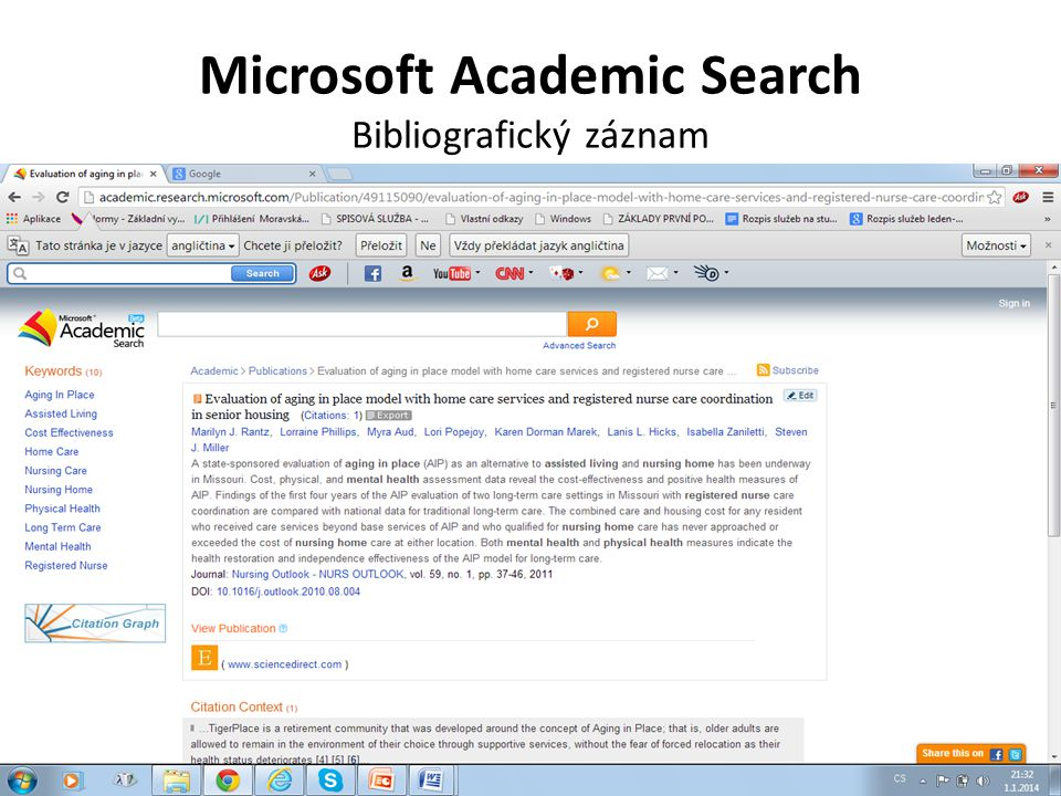 Microsoft Academic Search Bibliografický záznam