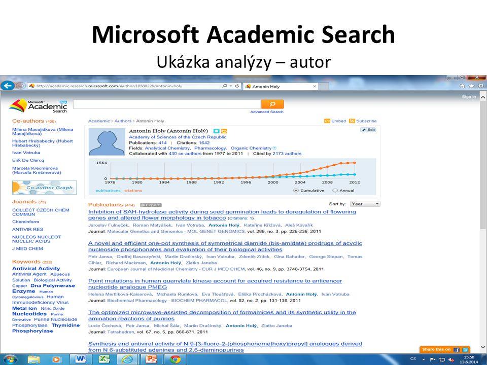 Microsoft Academic Search Ukázka analýzy – graf spoluautorů