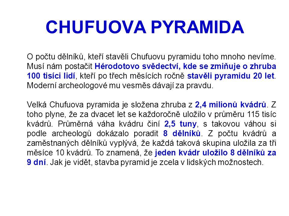 O počtu dělníků, kteří stavěli Chufuovu pyramidu toho mnoho nevíme. Musí nám postačit Hérodotovo svědectví, kde se zmiňuje o zhruba 100 tisíci lidí, k