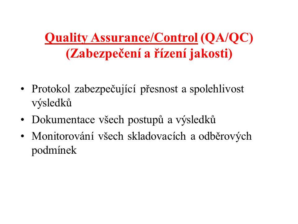 Quality Assurance/Control (QA/QC) (Zabezpečení a řízení jakosti) Protokol zabezpečující přesnost a spolehlivost výsledků Dokumentace všech postupů a výsledků Monitorování všech skladovacích a odběrových podmínek