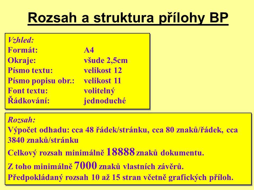 12/2009Přednáška č. 610 Rozsah a struktura přílohy BP Vzhled: Formát:A4 Okraje:všude 2,5cm Písmo textu:velikost 12 Písmo popisu obr.:velikost 11 Font