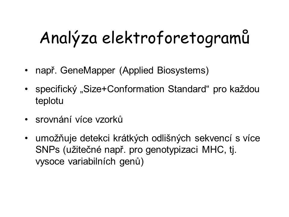 """Analýza elektroforetogramů např. GeneMapper (Applied Biosystems) specifický """"Size+Conformation Standard"""" pro každou teplotu srovnání více vzorků umožň"""