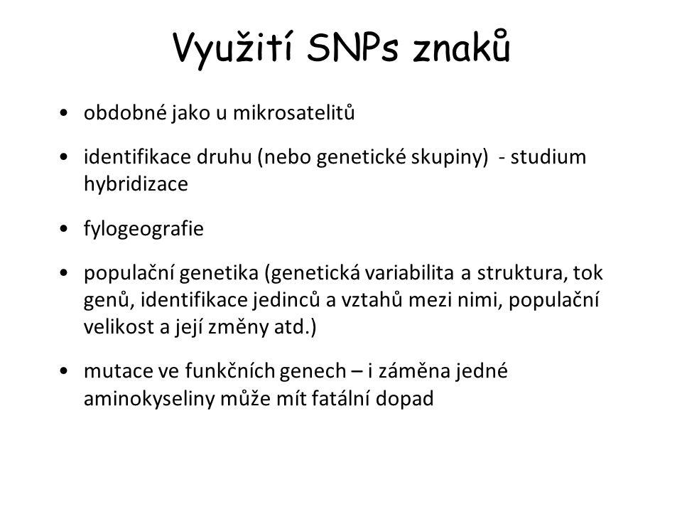 Využití SNPs znaků obdobné jako u mikrosatelitů identifikace druhu (nebo genetické skupiny) - studium hybridizace fylogeografie populační genetika (ge