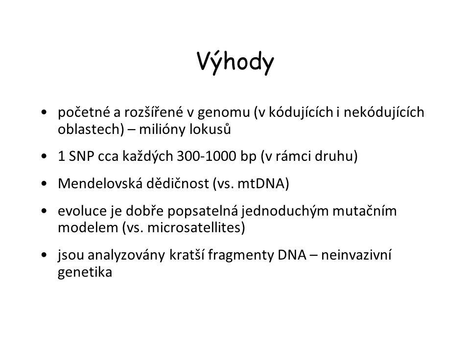 Výhody početné a rozšířené v genomu (v kódujících i nekódujících oblastech) – milióny lokusů 1 SNP cca každých 300-1000 bp (v rámci druhu) Mendelovská