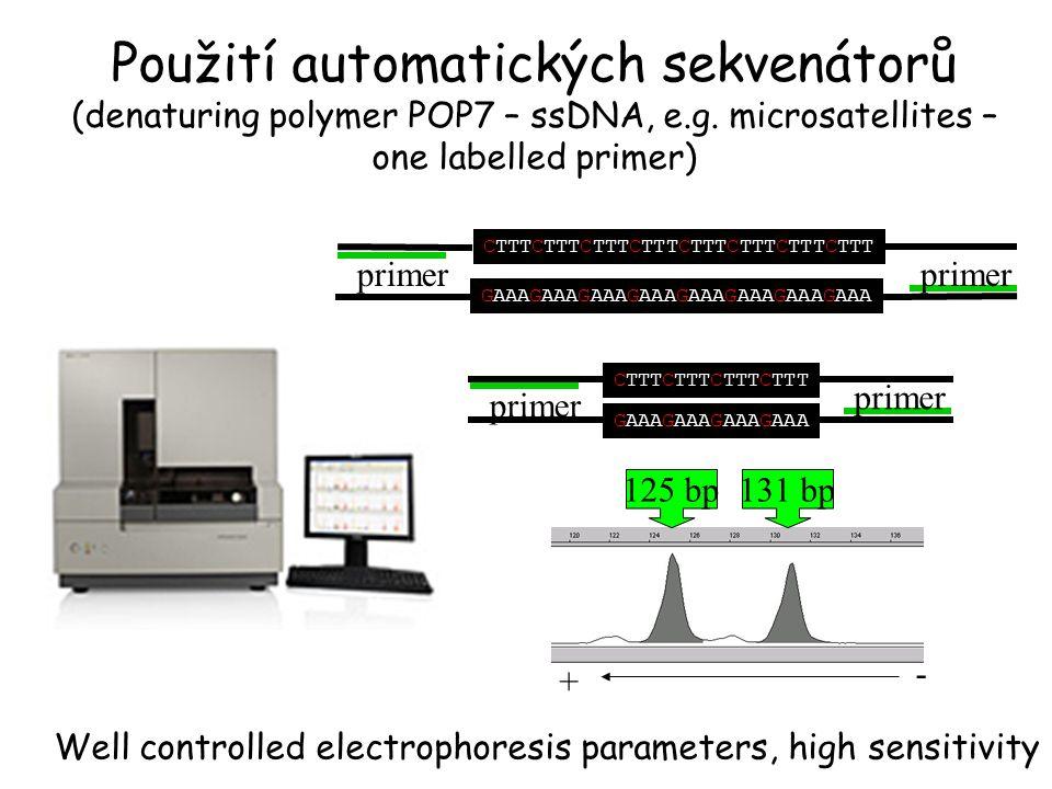 Použití automatických sekvenátorů (denaturing polymer POP7 – ssDNA, e.g. microsatellites – one labelled primer) Well controlled electrophoresis parame
