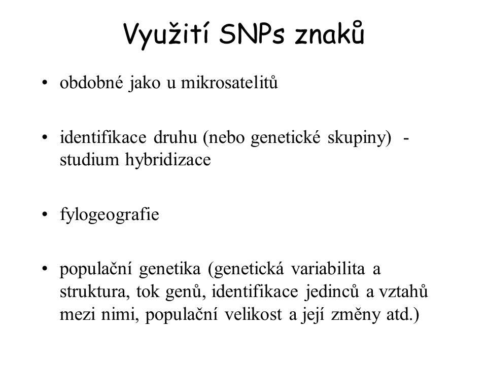 Výhody početné a rozšířené v genomu (v kódujících i nekódujících oblastech) – milióny lokusů 1 SNP cca každých 300-1000 bp Mendelovská dědičnost (vs.